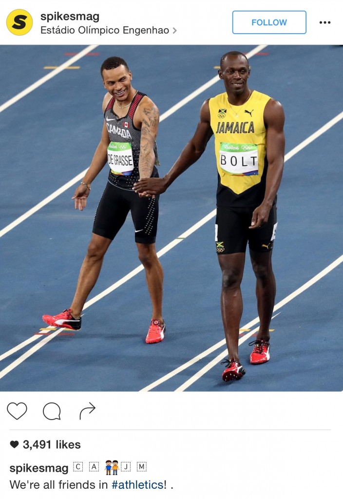 Andre De Grasse from Team Canada and Usain Bolt of Jamaica