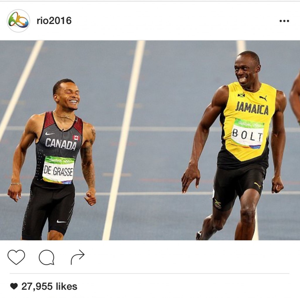 Andre De Grasse from Team Canada and Usain Bolt